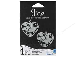 Sweet Beads Slice Metal Pendant Heart 4 pc. Silver