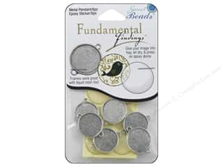 beading & jewelry making supplies: Sweet Beads Fundamental Finding Pendant Frame 6 pc. Round Antique Silver
