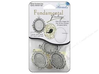 beading & jewelry making supplies: Sweet Beads Fundamental Finding Pendant Frame 3 pc. Oval Fancy Antique Silver 1 1/2 in.