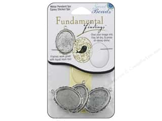 beading & jewelry making supplies: Sweet Beads Fundamental Finding Pendant Frame 3 pc. Oval Fancy Antique Silver