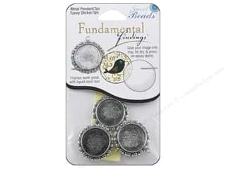 beading & jewelry making supplies: Sweet Beads Fundamental Finding Pendant Frame 3 pc. Round Fancy Antique Silver 1 in.