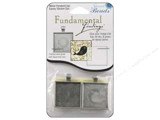 beading & jewelry making supplies: Sweet Beads Fundamental Finding Pendant Frame 2 pc. Square Antique Silver