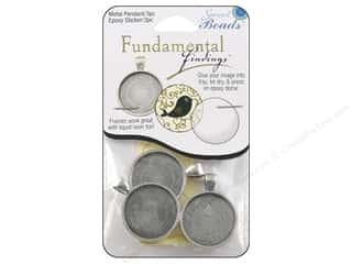beading & jewelry making supplies: Sweet Beads Fundamental Finding Pendant Frame 3 pc. Round Antique Silver 1 in.