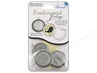 beading & jewelry making supplies: Sweet Beads Fundamental Finding Pendant Frame 3 pc. Round Fancy Antique Silver