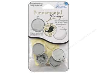 beading & jewelry making supplies: Sweet Beads Fundamental Finding Pendant Frame 4 pc. Round Antique Silver