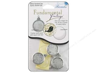 beading & jewelry making supplies: Sweet Beads Fundamental Finding Pendant Frame 3 pc. Round Antique Silver