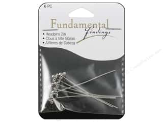 beading & jewelry making supplies: Sweet Beads Fundamental Finding Fancy Headpins Antique Silver 6 pc.