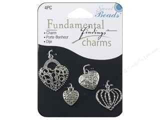 Sweet Beads Fundamental Finding Charms 4 pc. Hearts Silver