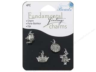 Clearance Sweet Beads: Sweet Beads Fundamental Finding Charms 4 pc. Storybook Silver