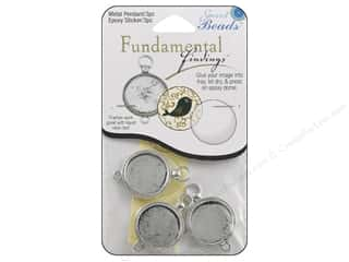 beading & jewelry making supplies: Sweet Beads Fundamental Finding Pendant Frame 3 pc. Fob Style Silver