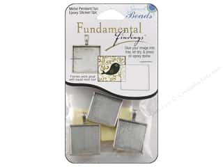 beading & jewelry making supplies: Sweet Beads Fundamental Finding Pendant Frame 3 pc. Square Antique Silver