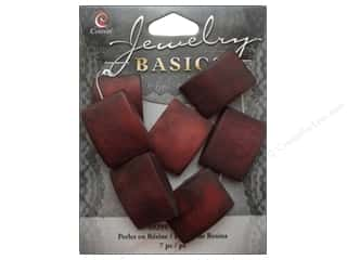 Resin/Synthetic Bead: Cousin Resin Beads 7/8 in. Square Red 7 pc.