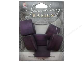 Resin/Synthetic Bead: Cousin Resin Beads 7/8 in. Square Purple 7 pc.