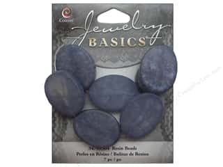 Resin/Synthetic Bead: Cousin Resin Beads 1 x 3/4 in. Oval Blue 7 pc.