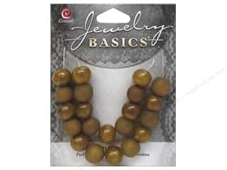 Resin/Synthetic Bead: Cousin Resin Beads 3/8 in. Round Gold 21 pc.