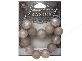 Resin/Synthetic Bead: Cousin Resin Beads 9/16 in. Round Silver 13 pc.