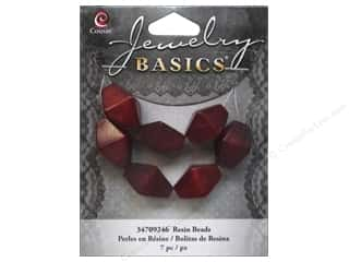 Resin/Synthetic Bead: Cousin Resin Beads 5/8 in. Bicone Red 7 pc.