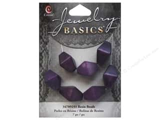 Resin/Synthetic Bead: Cousin Resin Beads 5/8 in. Bicone Purple 7 pc.
