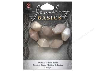 Resin/Synthetic Bead: Cousin Resin Beads 5/8 in. Bicone Silver 7 pc.