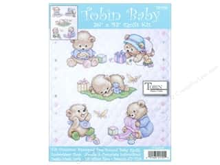 """Tobin Kit Stamped Baby Quilt 34""""x 43"""" Baby Bears"""