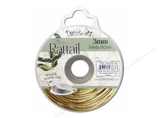beading & jewelry making supplies: Dazzle It Rattail Cord 3 mm x 10 yd. Gold Bronze
