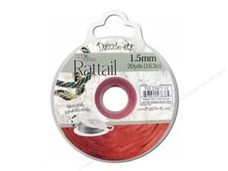 beading & jewelry making supplies: Dazzle It Rattail Cord 1.5 mm x 20 yd. Red