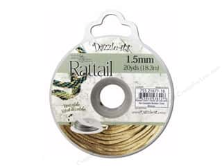 beading & jewelry making supplies: Dazzle It Rattail Cord 1.5 mm x 20 yd. Gold Bronze