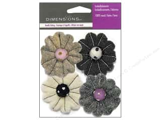 wool felt: Dimensions Wool Felt Embellishment Neutral Flower Mix