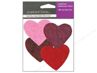 Multi Colored Yarn: Dimensions Wool Felt Embellishment Multi Color Hearts
