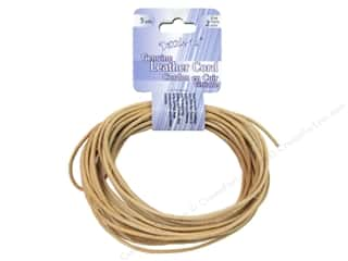 beading & jewelry making supplies: Dazzle It Leather Cord 2 mm x 5 yd. Round Natural