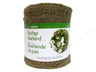 FloraCraft Burlap Ribbon 5 in x 10 yd. Garland Natural