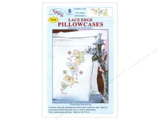 yarn & needlework: Jack Dempsey Pillowcase Lace Edge White Fluttering Butterflies