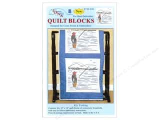square hoop: Jack Dempsey 18 in. Quilt Blocks 6 pc. Fly Fisherman