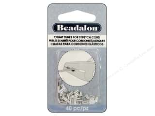 beading & jewelry making supplies: Beadalon Crimp Tubes for Stretch Cord 1 mm Silver Plated 40 pc.