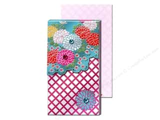 Clearance Punch Studio Decorative Magnet: Punch Studio Pocket Note Pad Large Teal Foil Mums