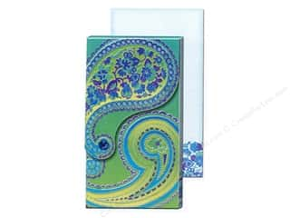 Clearance Punch Studio Decorative Magnet: Punch Studio Pocket Note Pad Large Blue Foil Paisley