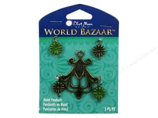 Clearance Blue Moon Pendant: Blue Moon Beads Metal Pendant World Bazaar Oxidized Brass Fleur de Lis & Connectors 5 pc.