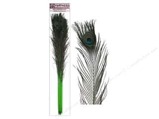 """Feathers peacock: Zucker Feather Peacock Eyes Stem 30-40"""" 10pc Lime"""