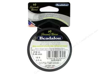 beading & jewelry making supplies: Beadalon Bead Wire 19 Strand .018 in. Silver Plated 15 ft.