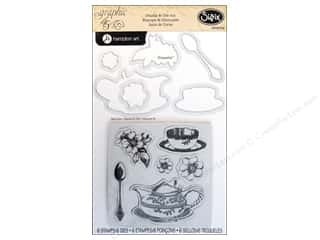 Sizzix Framelits Die Set 6 PK with Stamps Tea Time by Graphic 45