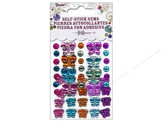 stickers: Darice Self-Stick Gems 6 - 12 mm Round and Butterfly 49 pc. Vibrant