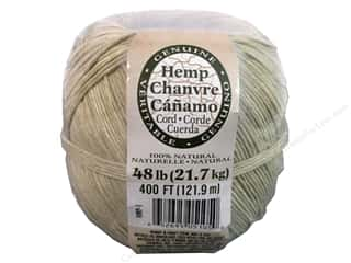 beading & jewelry making supplies: Darice Hemp Cord 48 lb. Natural 400 ft.