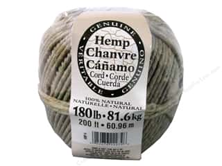 beading & jewelry making supplies: Darice Hemp Cord 180 lb. Natural  200 ft.
