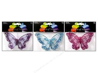 seed beads: Midwest Design Butterfly 4.75 in. Glitter Mesh Assorted