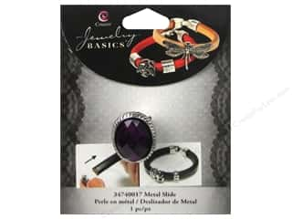 Cousin Metal Slide Charm Acrylic Oval Silver/Purple 1 pc.