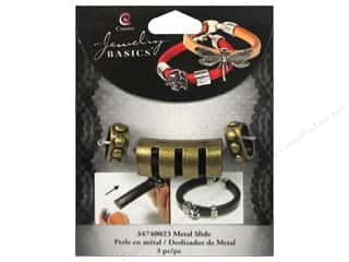 Cousin Metal Slide Charm Bar With Cuts Gold 3 pc.