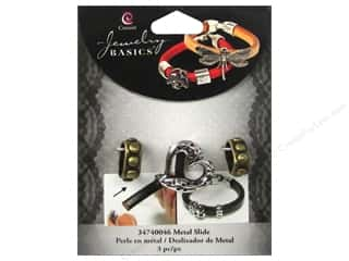 beading & jewelry making supplies: Cousin Metal Slide Charm Heart Silver/Gold 3 pc.