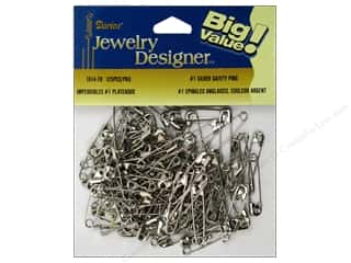 darice safety pin: Darice Jewelry Designer Safety Pins #1 Silver Plate Steel 125pc
