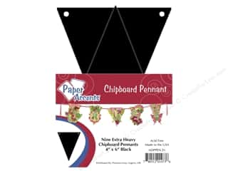 Paper Accents Chipboard Pennants 4 x 6 in. 9 pc. Black