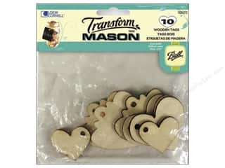 Weekly Specials Glass: Loew Cornell Transform Mason Wooden Tags 10 pc. Hearts